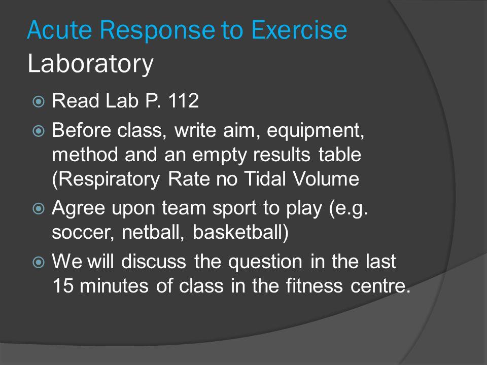 Acute Response to Exercise Laboratory