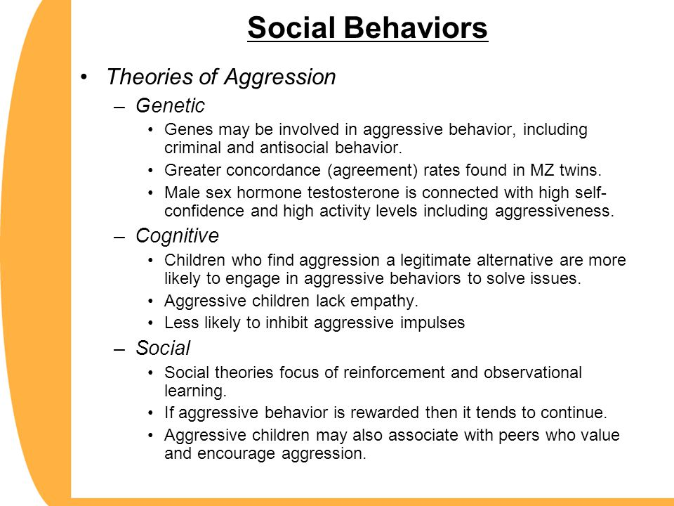 Social Behaviors Theories of Aggression Genetic Cognitive Social