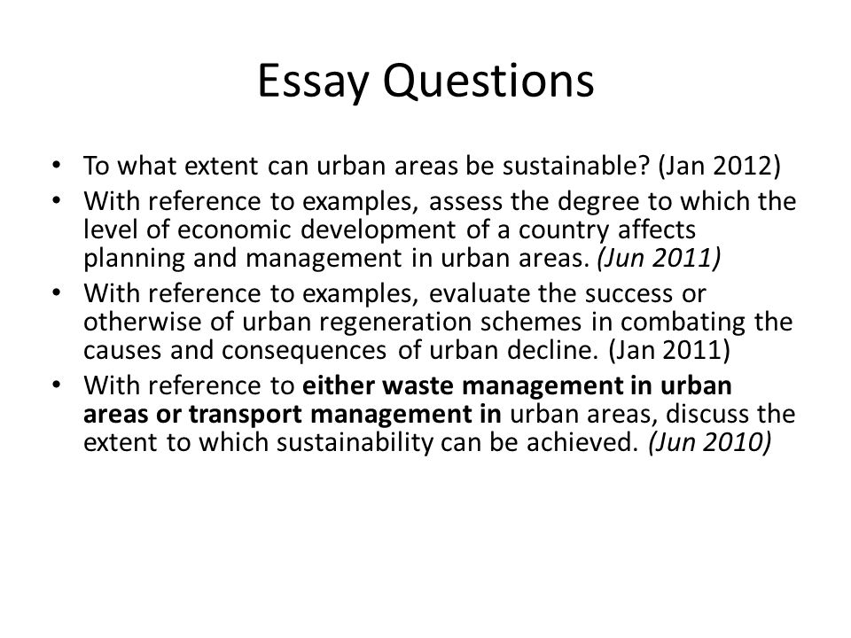 sustainable urban area essay