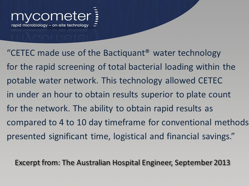 Excerpt from: The Australian Hospital Engineer, September 2013