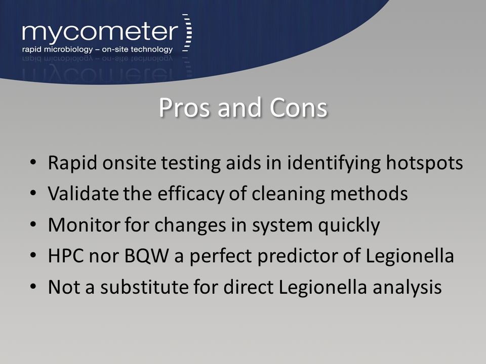 Pros and Cons Rapid onsite testing aids in identifying hotspots