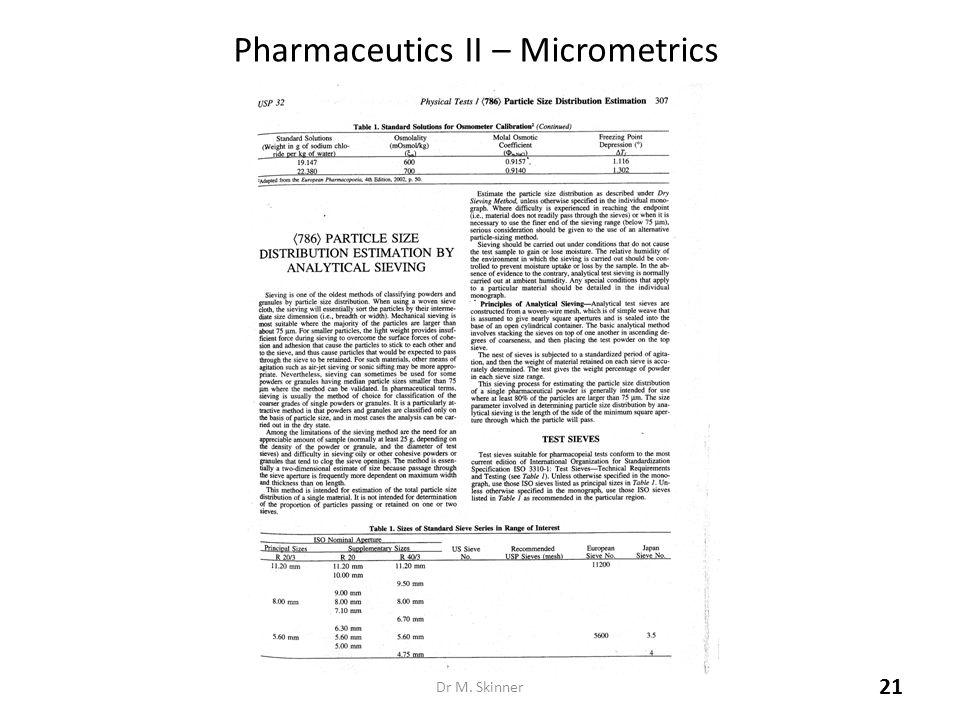 Pharmaceutics II – Micrometrics