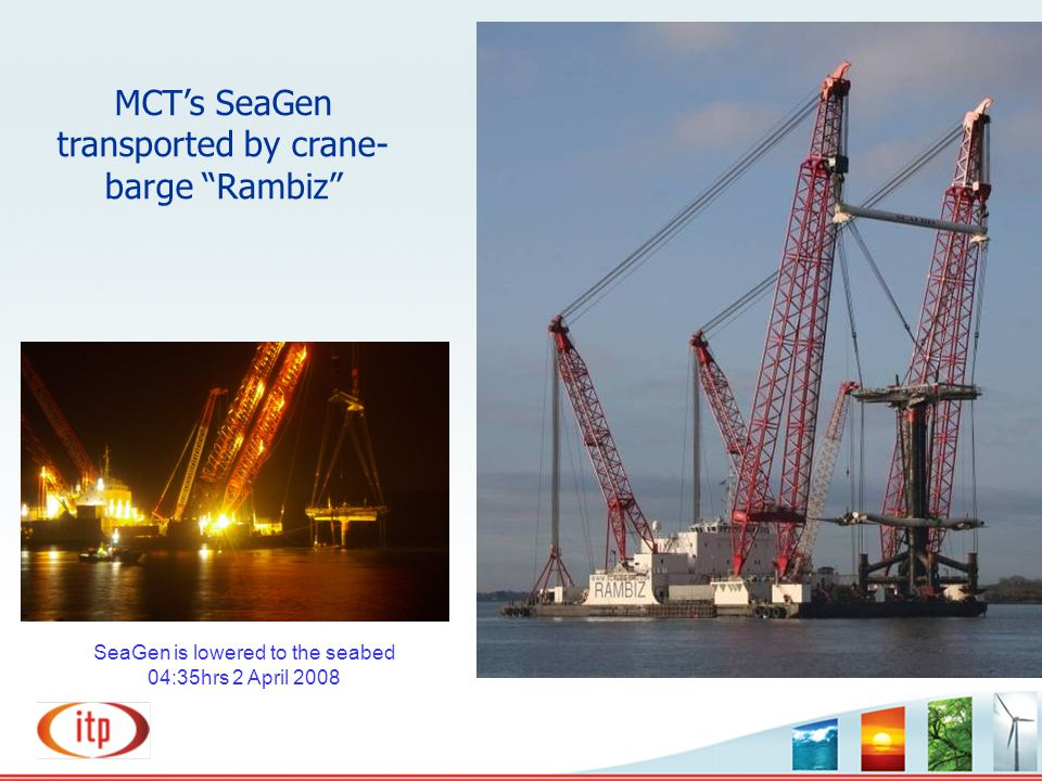 MCT's SeaGen transported by crane-barge Rambiz