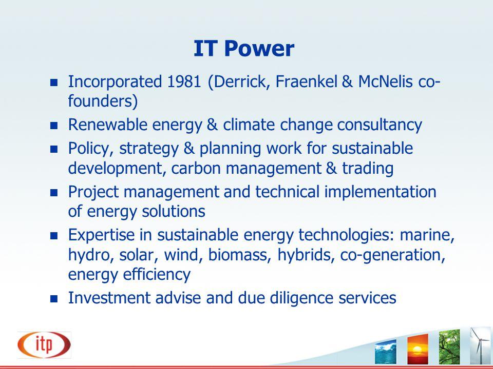 IT Power Incorporated 1981 (Derrick, Fraenkel & McNelis co-founders)