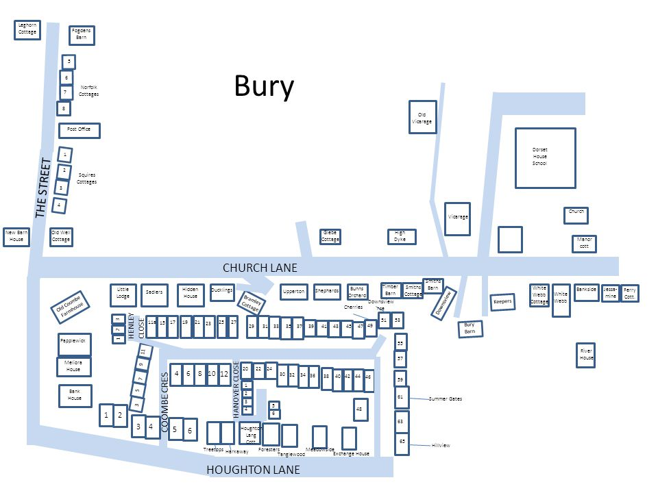 Bury THE STREET CHURCH LANE HOUGHTON LANE COOMBE CRES HENLEY CLOSE