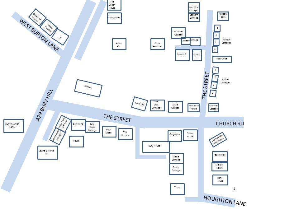 WEST BURTON LANE THE STREET A29 BURY HILL THE STREET CHURCH RD