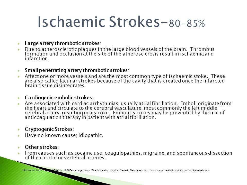 Ischaemic Strokes-80-85% Large artery thrombotic strokes: