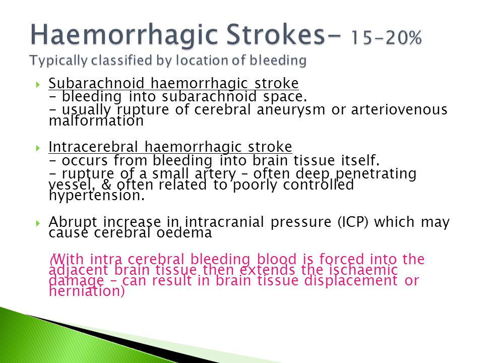 Haemorrhagic Strokes- 15-20% Typically classified by location of bleeding