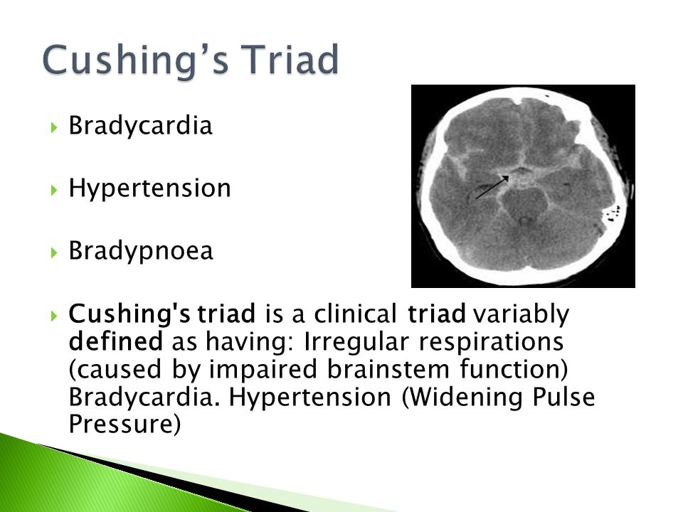 Cushing's Triad Bradycardia Hypertension Bradypnoea