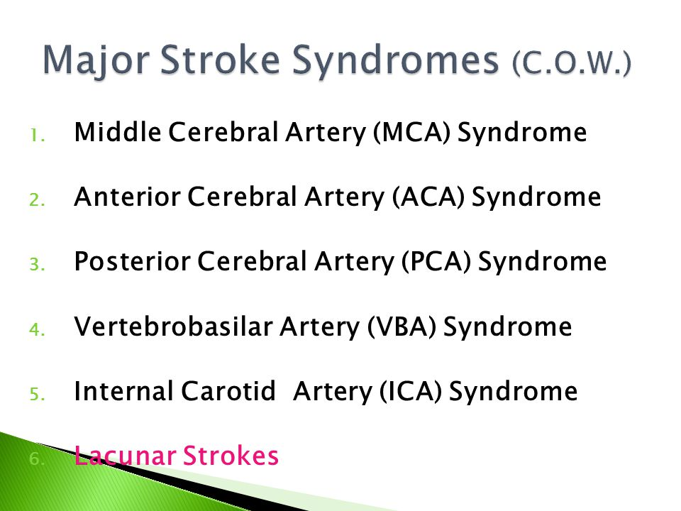 Major Stroke Syndromes (C.O.W.)