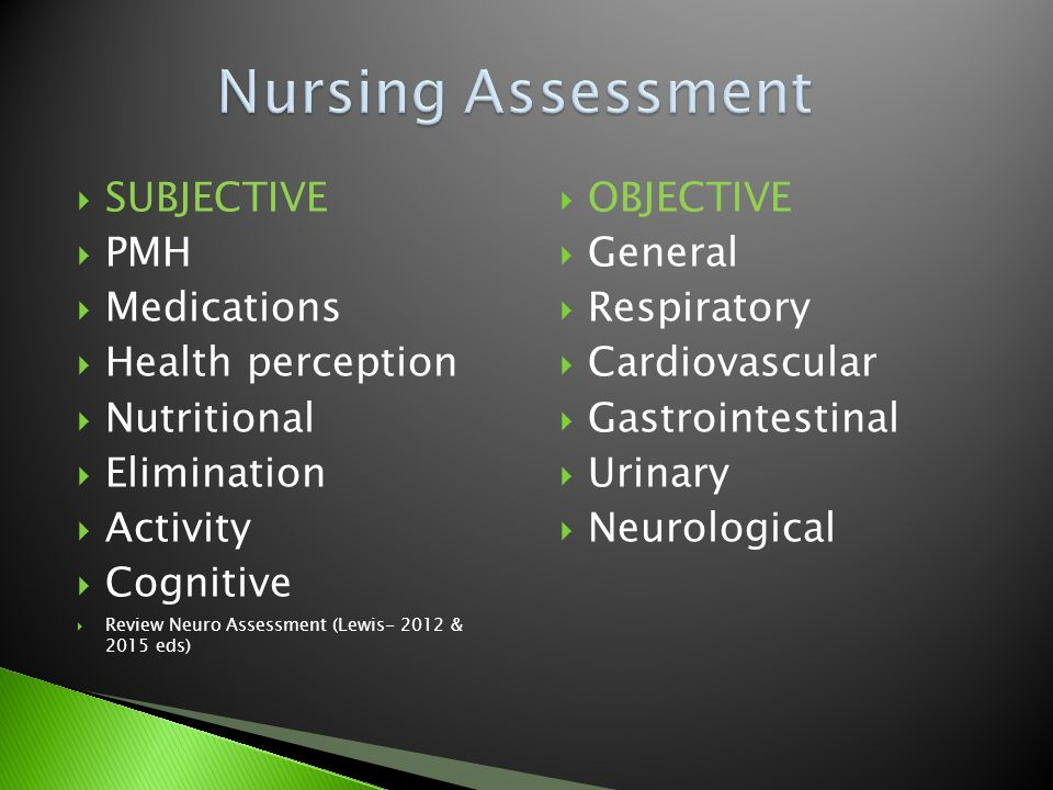 Nursing Assessment SUBJECTIVE PMH Medications Health perception