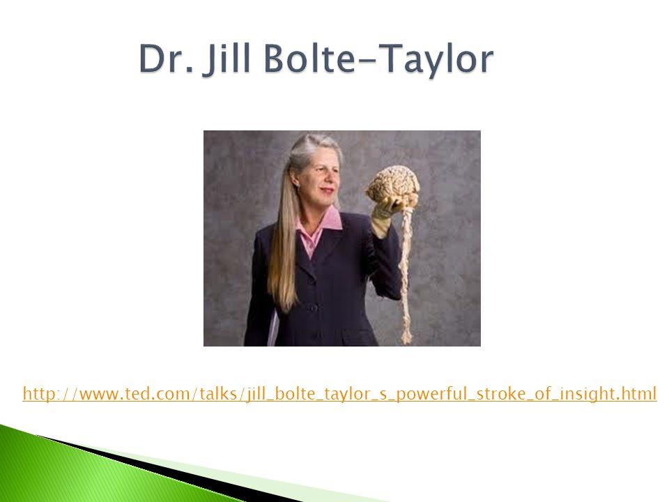 Dr. Jill Bolte-Taylor http://www.ted.com/talks/jill_bolte_taylor_s_powerful_stroke_of_insight.html