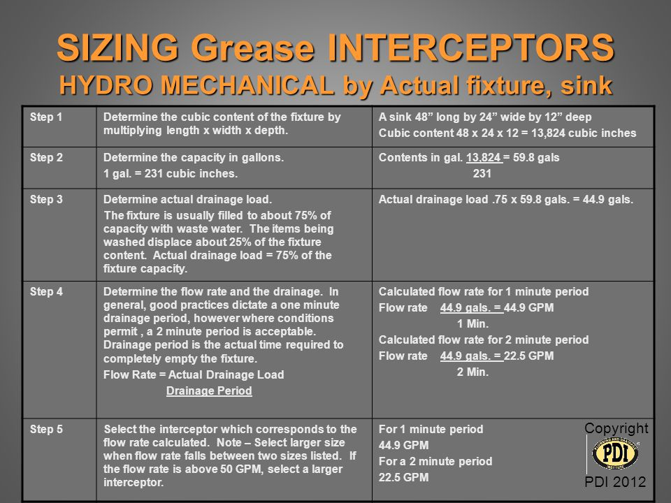 SIZING Grease INTERCEPTORS HYDRO MECHANICAL by Actual fixture, sink
