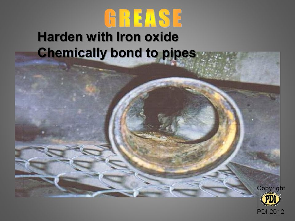 GREASE Harden with Iron oxide Chemically bond to pipes Copyright