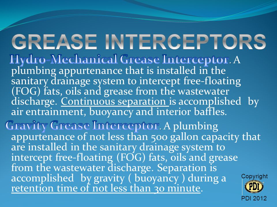 GREASE INTERCEPTORS