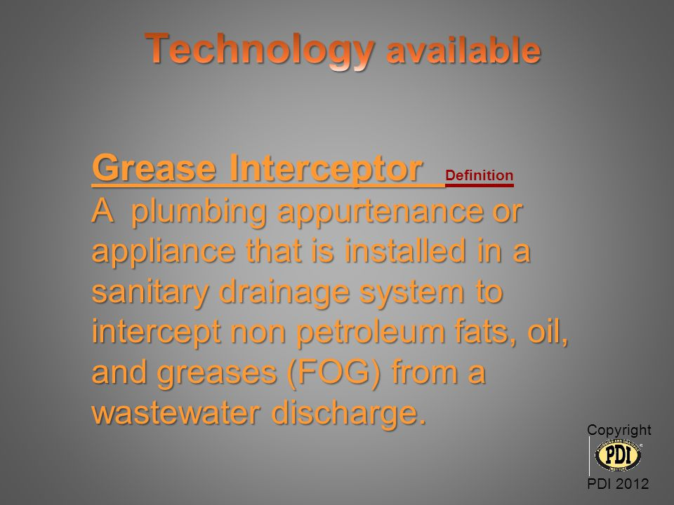 Grease Interceptor Definition