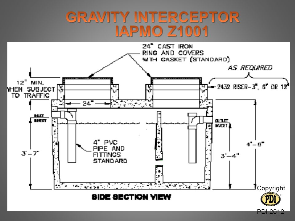 GRAVITY INTERCEPTOR IAPMO Z1001 Copyright PDI 2012