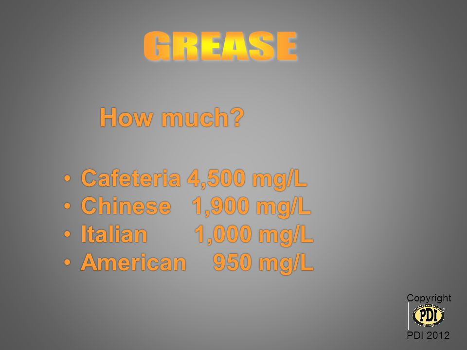 How much GREASE Cafeteria 4,500 mg/L Chinese 1,900 mg/L