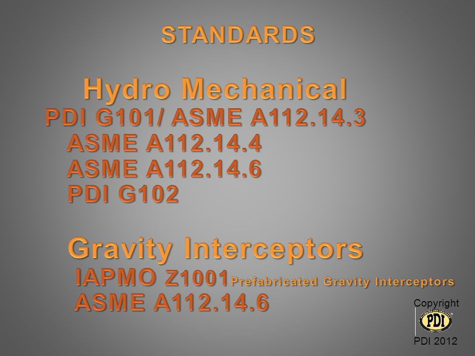 IAPMO Z1001Prefabricated Gravity Interceptors