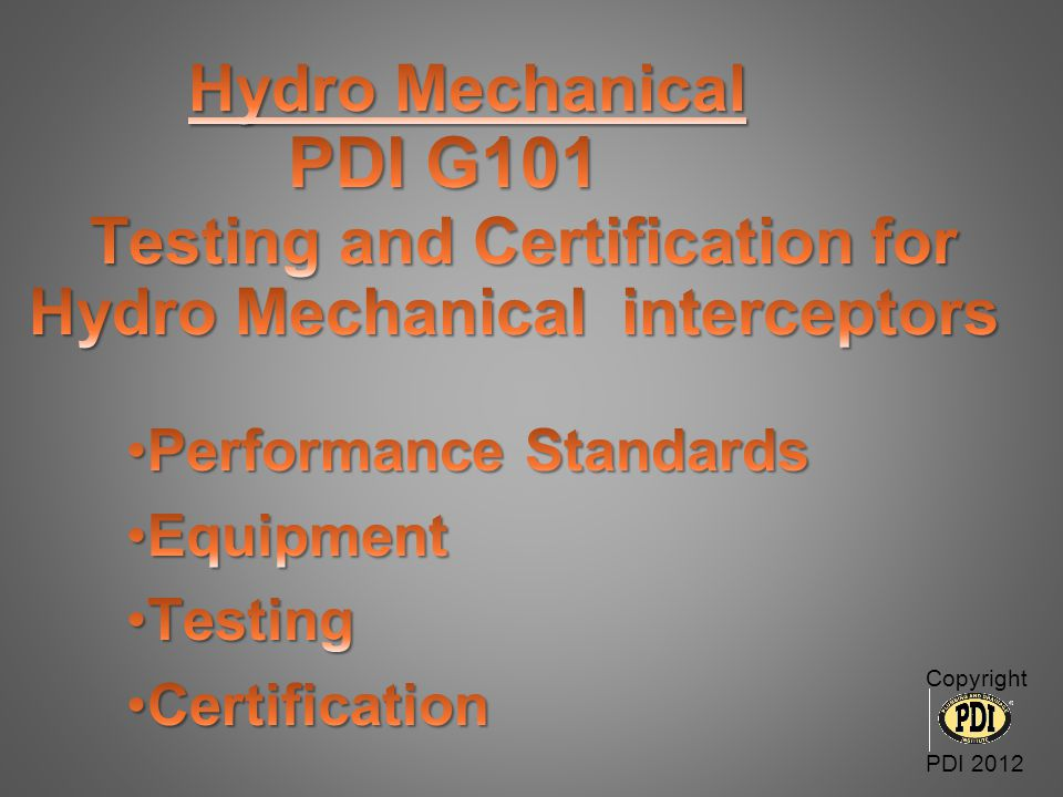 Performance Standards Equipment Testing Certification