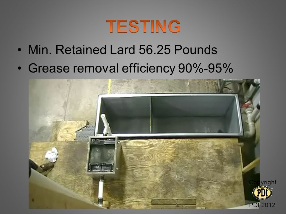 TESTING Min. Retained Lard 56.25 Pounds