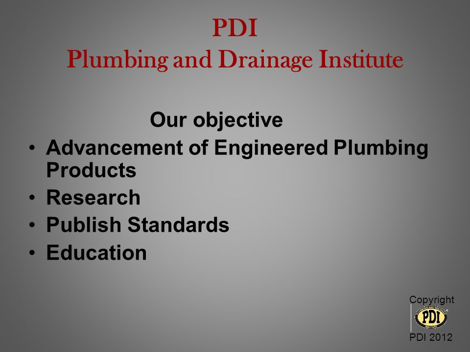 PDI Plumbing and Drainage Institute