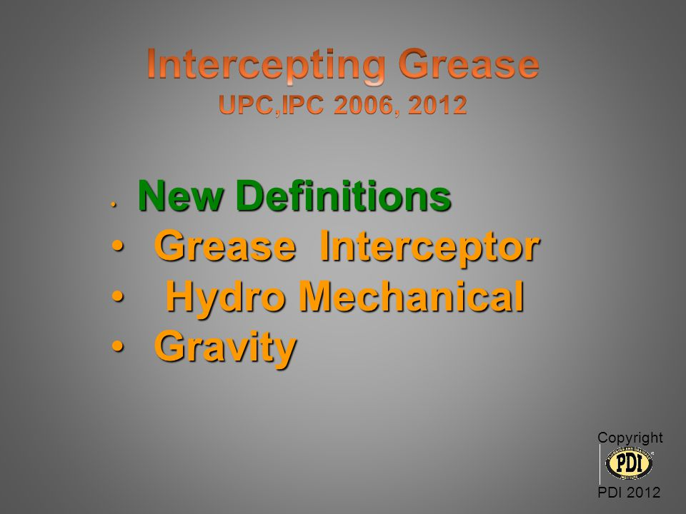 Intercepting Grease Grease Interceptor Hydro Mechanical Gravity