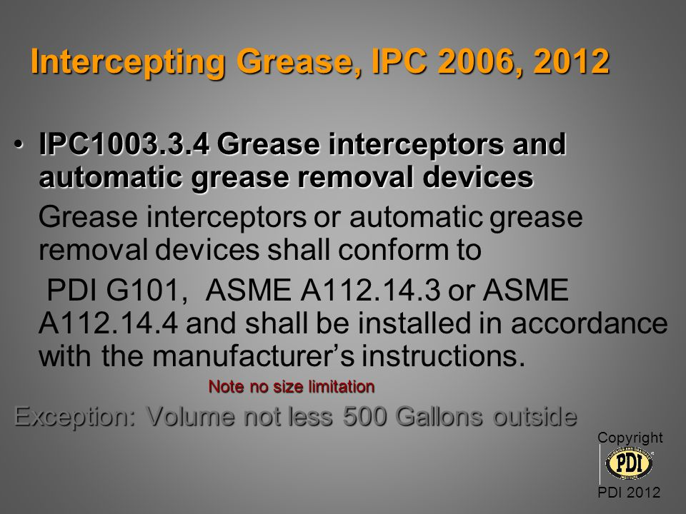 Intercepting Grease, IPC 2006, 2012