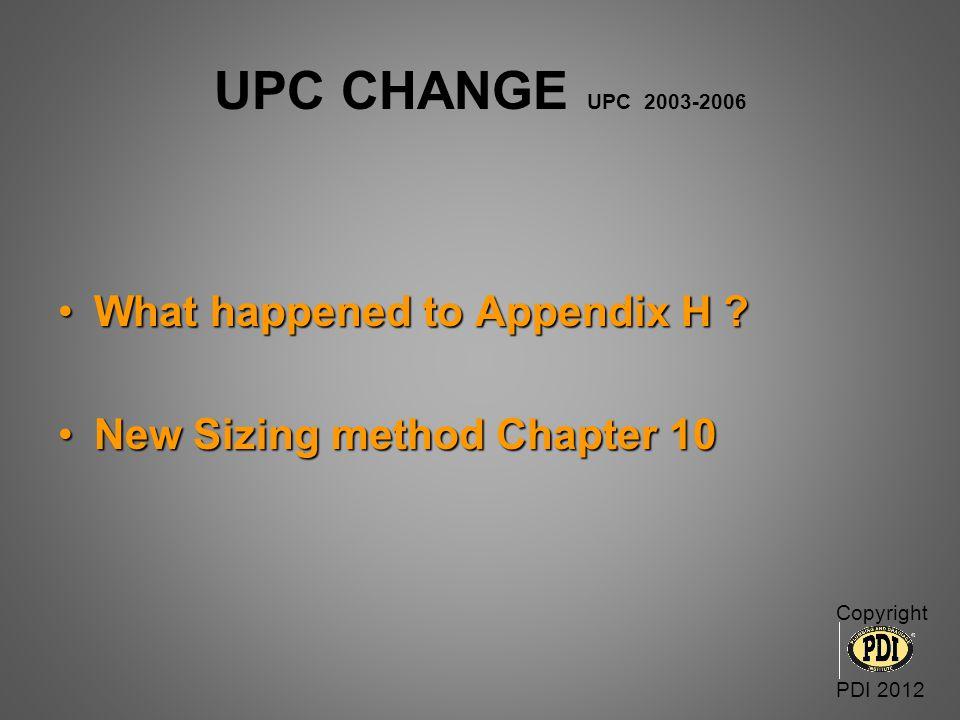 UPC CHANGE UPC 2003-2006 What happened to Appendix H