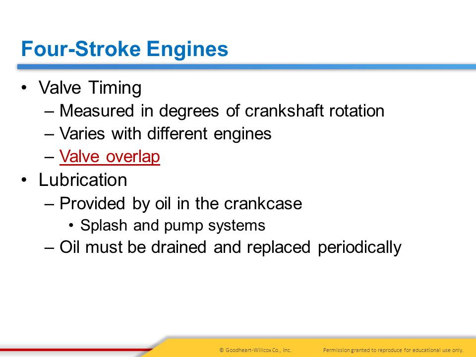 Four-Stroke Engines Valve Timing Lubrication