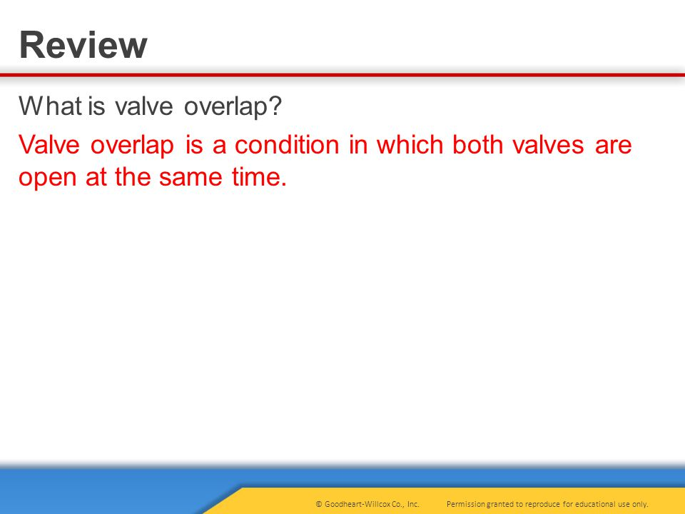 What is valve overlap Valve overlap is a condition in which both valves are open at the same time.