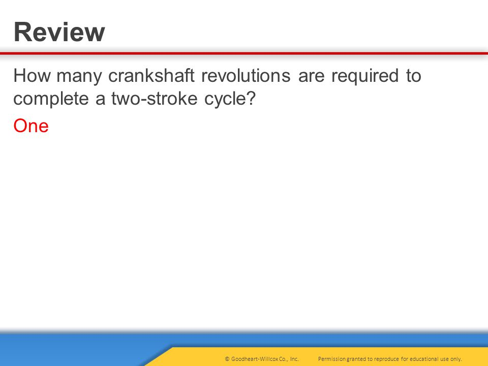 How many crankshaft revolutions are required to complete a two-stroke cycle One