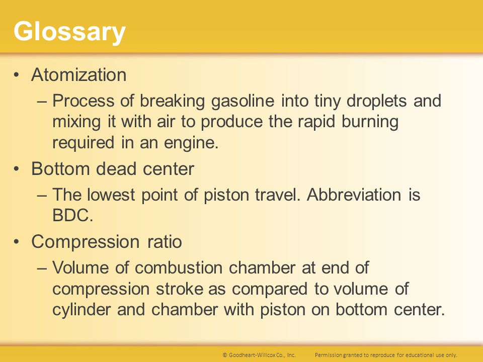 Glossary Atomization Bottom dead center Compression ratio