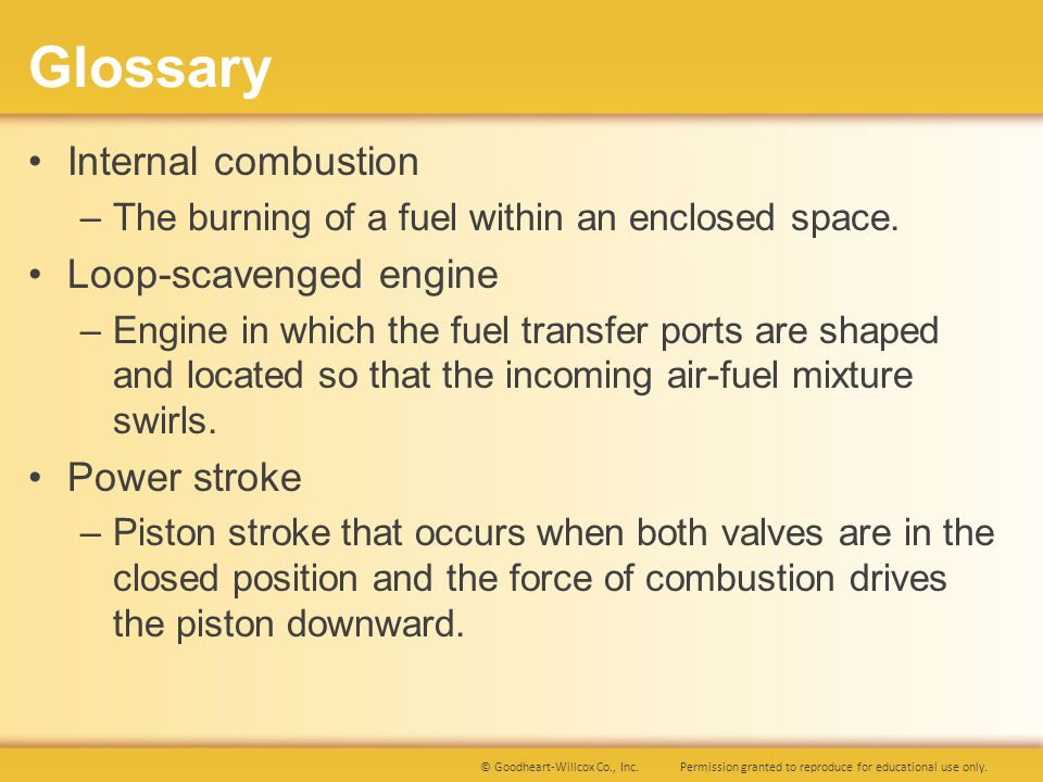Glossary Internal combustion Loop-scavenged engine Power stroke