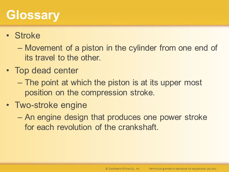 Glossary Stroke Top dead center Two-stroke engine