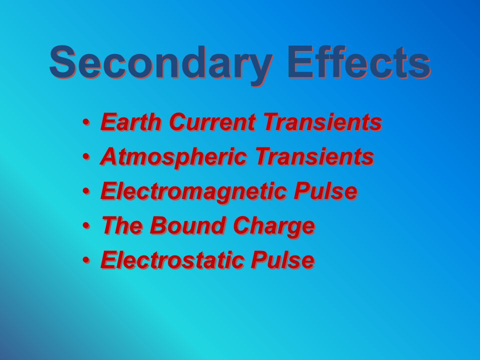 Secondary Effects Earth Current Transients Atmospheric Transients
