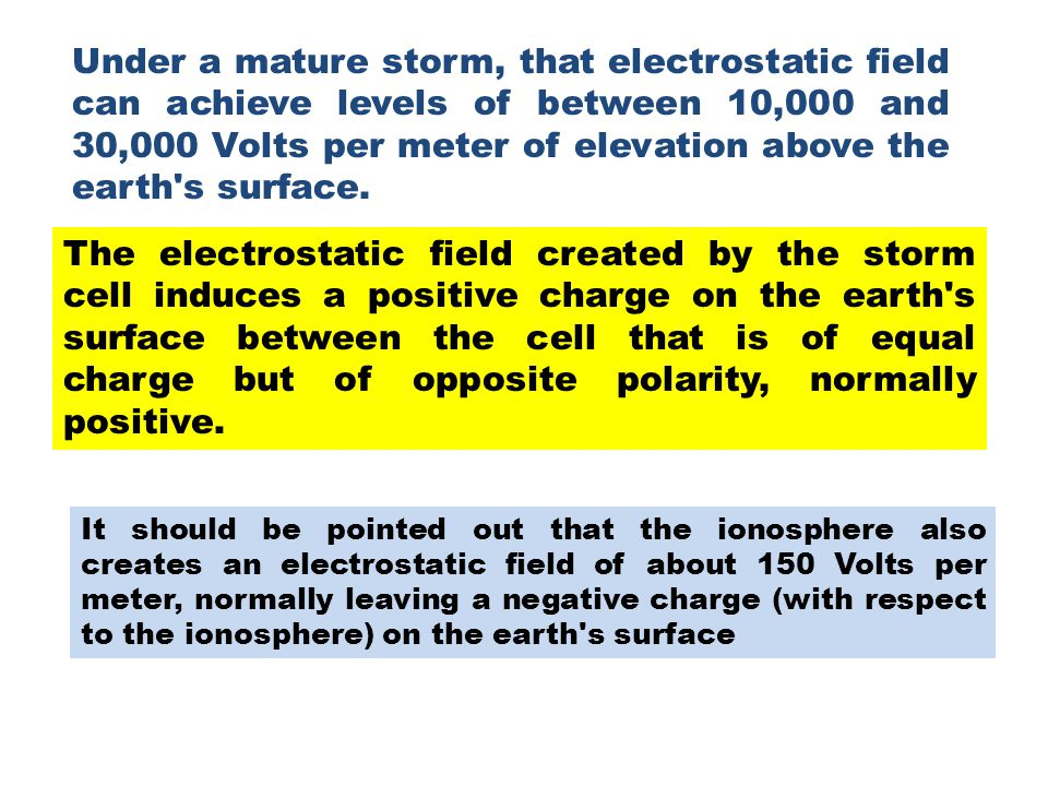 Under a mature storm, that electrostatic field can achieve levels of between 10,000 and 30,000 Volts per meter of elevation above the earth s surface.
