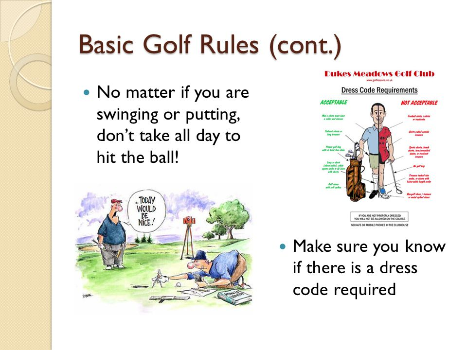 Basic Golf Rules (cont.)
