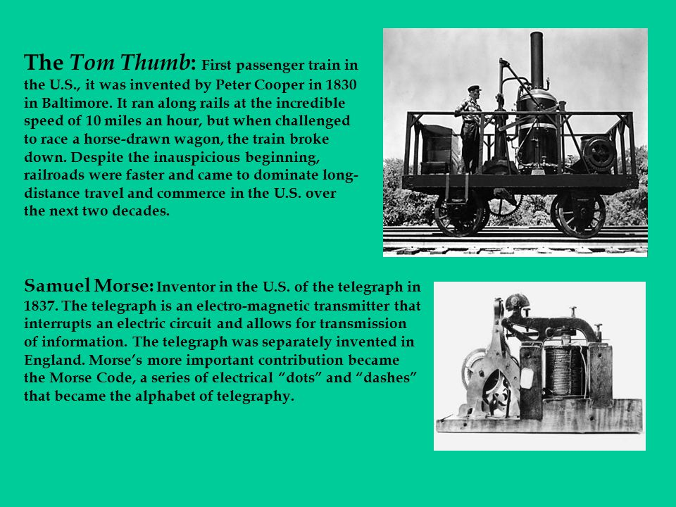 The Tom Thumb: First passenger train in the U. S