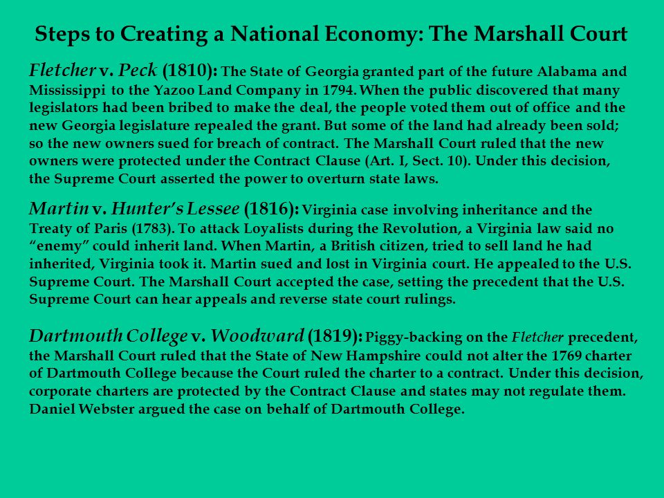 Steps to Creating a National Economy: The Marshall Court