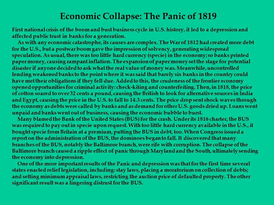 Economic Collapse: The Panic of 1819