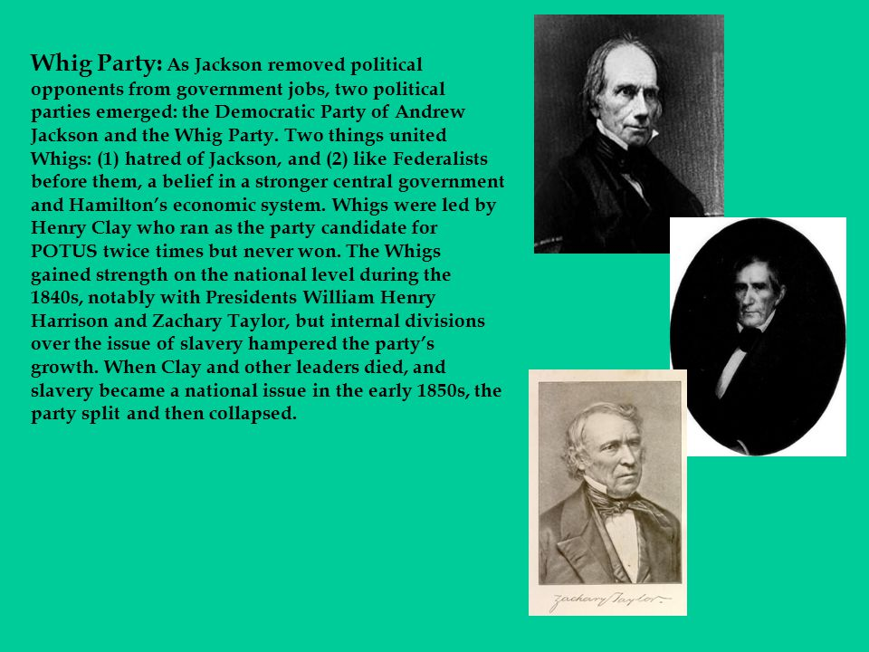 Whig Party: As Jackson removed political opponents from government jobs, two political parties emerged: the Democratic Party of Andrew Jackson and the Whig Party.