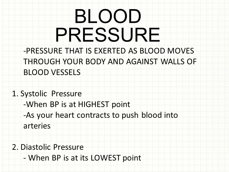 BLOOD PRESSURE. -PRESSURE THAT IS EXERTED AS BLOOD MOVES THROUGH YOUR BODY AND AGAINST WALLS OF BLOOD VESSELS.