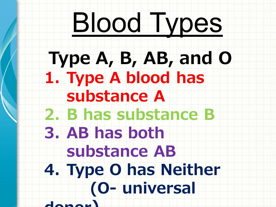 Blood Types Type A, B, AB, and O Type A blood has substance A
