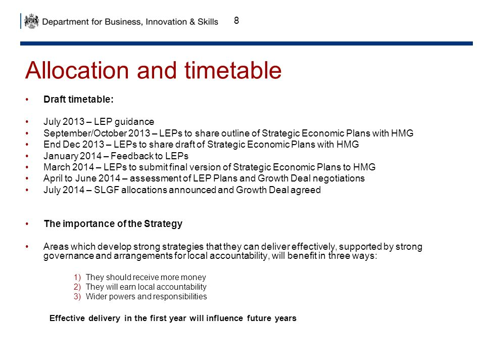 Allocation and timetable