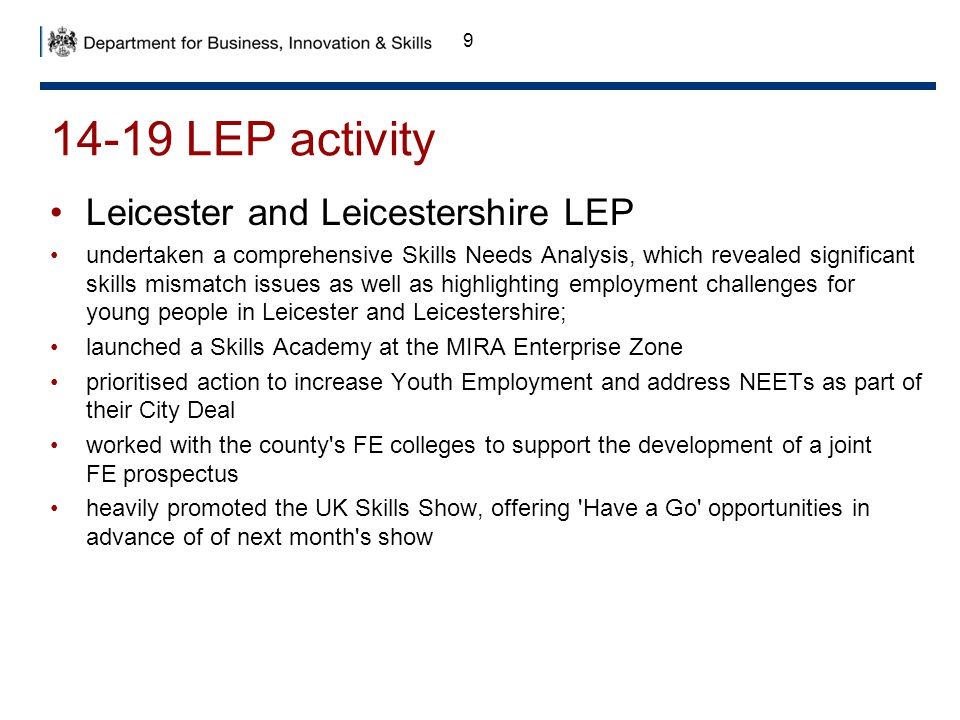 14-19 LEP activity Leicester and Leicestershire LEP