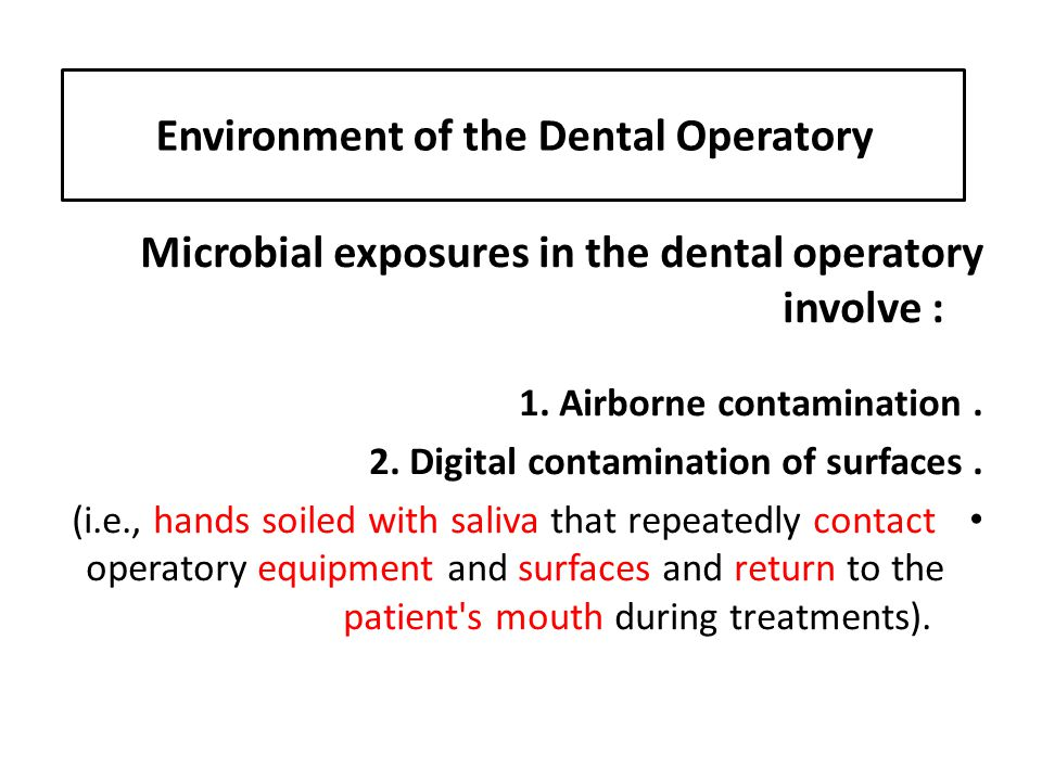 Environment of the Dental Operatory