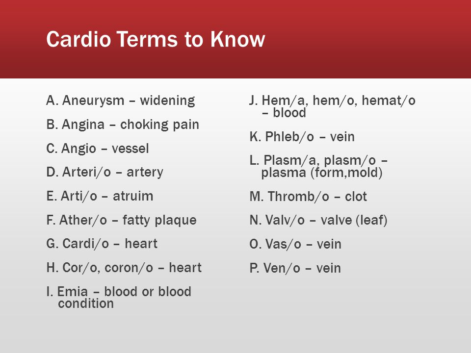 Cardio Terms to Know