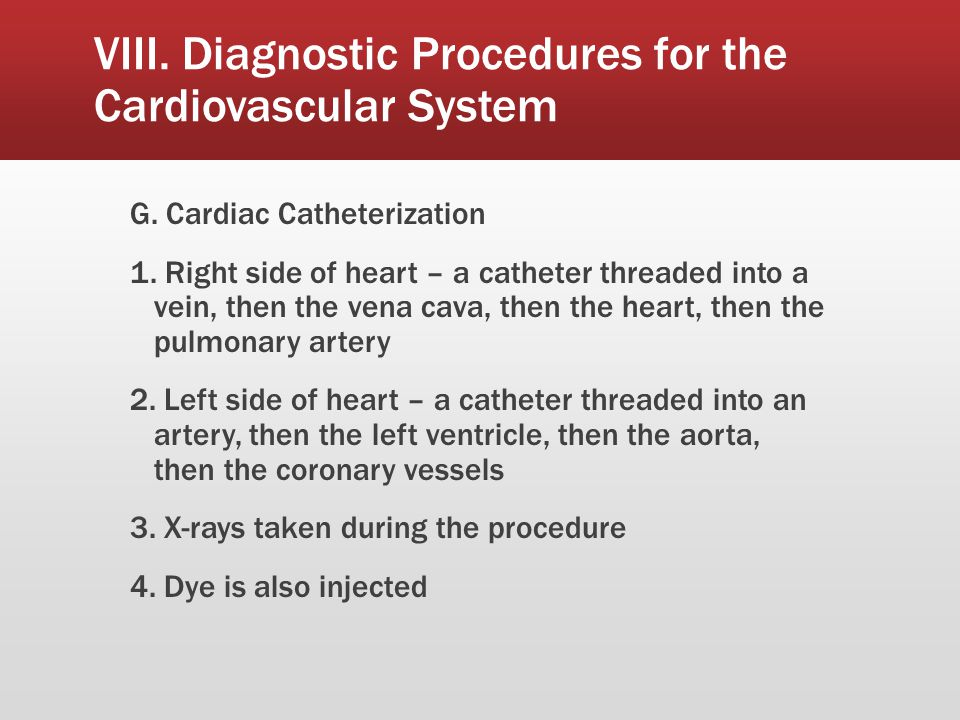 VIII. Diagnostic Procedures for the Cardiovascular System
