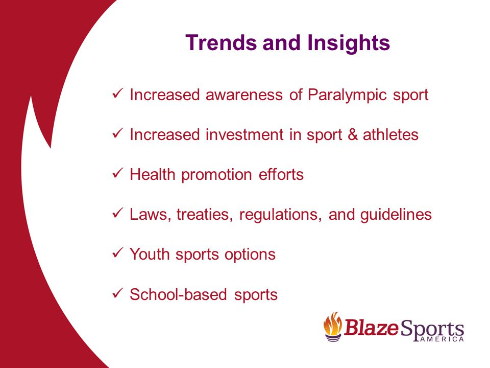 Trends and Insights Increased awareness of Paralympic sport